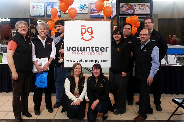 Volunteer Prince George launches a new look during National Volunteer Week 2014.  The board of directors is pictured:  (left to right):  Jo Nore, Program Manager; Judy Dix, Corey Walker, Tamara Sweet, Amanda Allen, Lindsay Cotter, Tim Bennett, Bill Quinn, Steven Perison